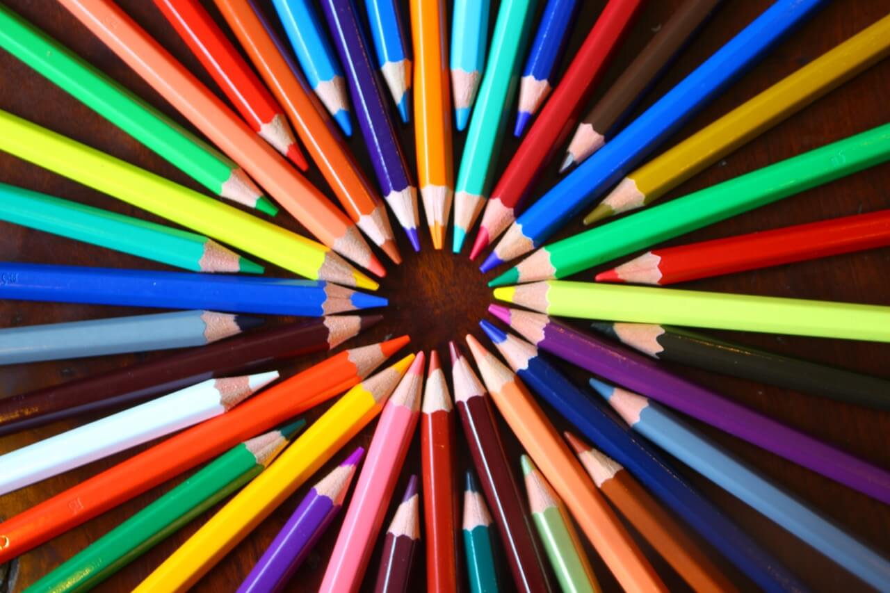 Various colours of pencil crayon