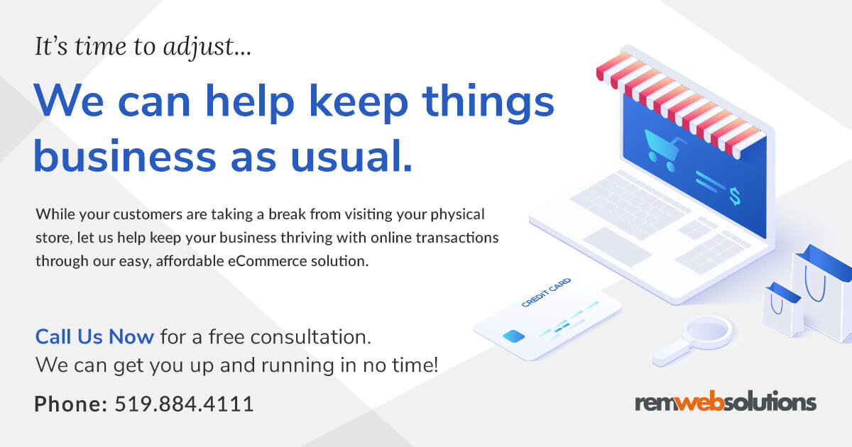 Banner with It's time to adjust... We can help keep things business as usual headline with laptop, credit card and shopping bags to convey online transactions.
