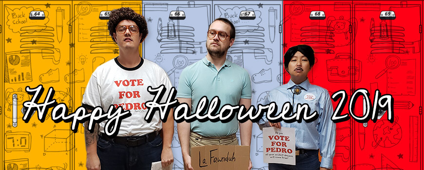 Happy Halloween 2019! REM team wearing Napoleon Dynamite costumes