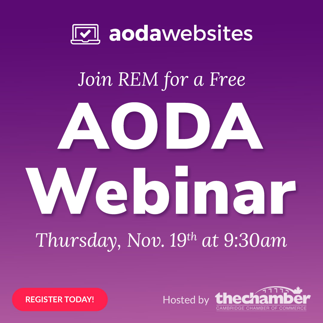 large AODA lettering with info for a free webinar