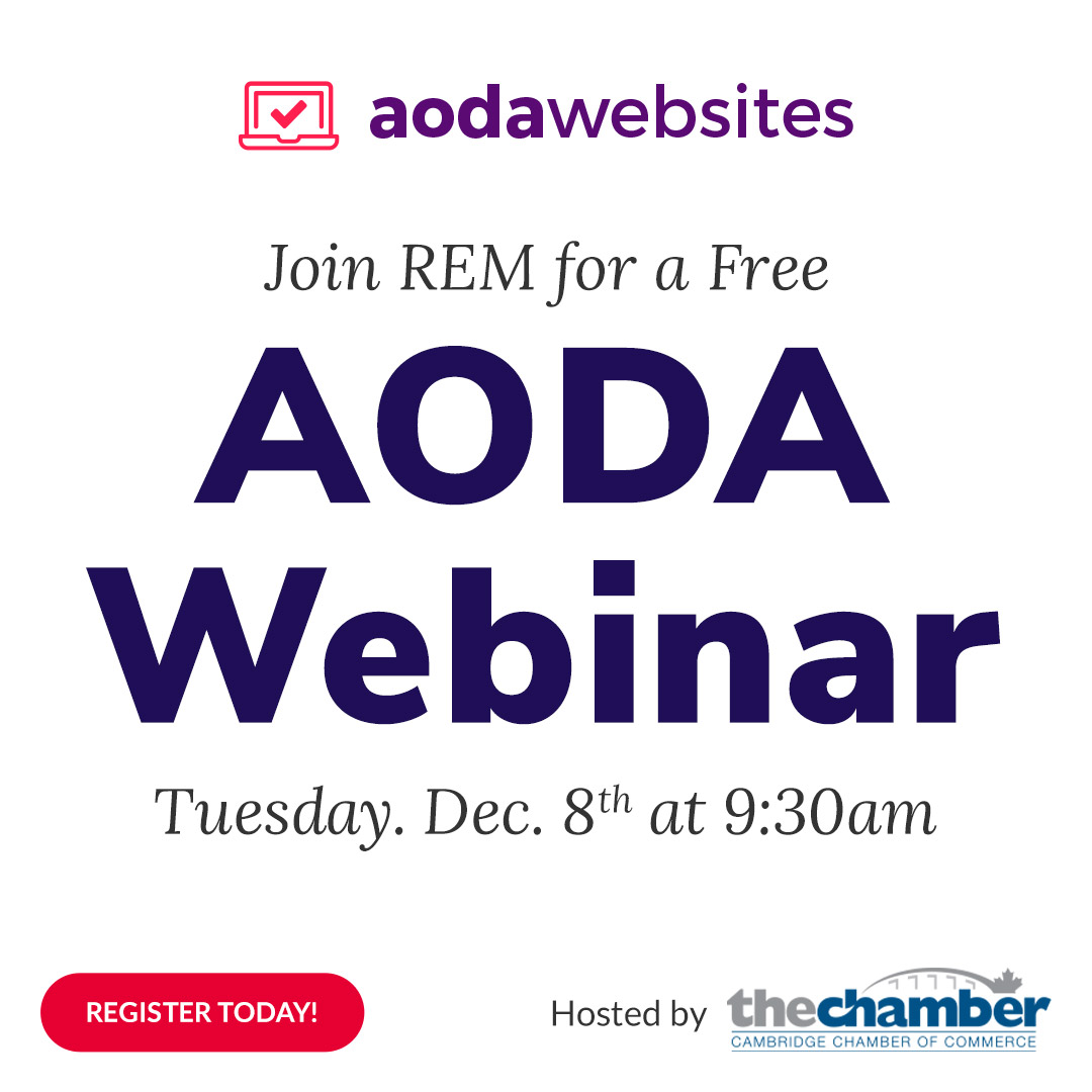 large AODA lettering with info for a free webinar in December 8