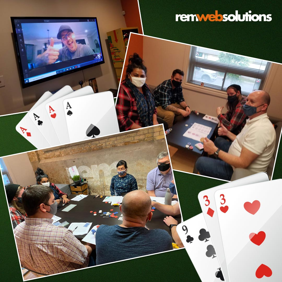 Collage of photos from REM's October Quarterly poker game event